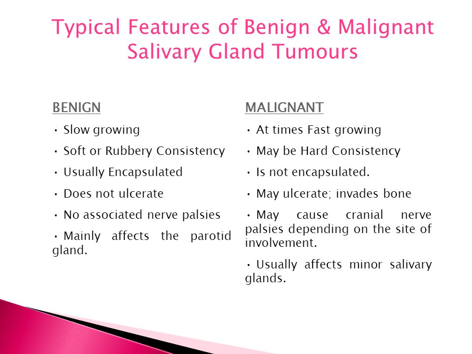 Typical Features of Benign & Malignant Salivary Gland Tumours