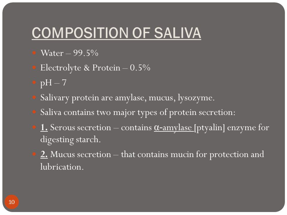 COMPOSITION OF SALIVA Water – 99.5% Electrolyte & Protein – 0.5%