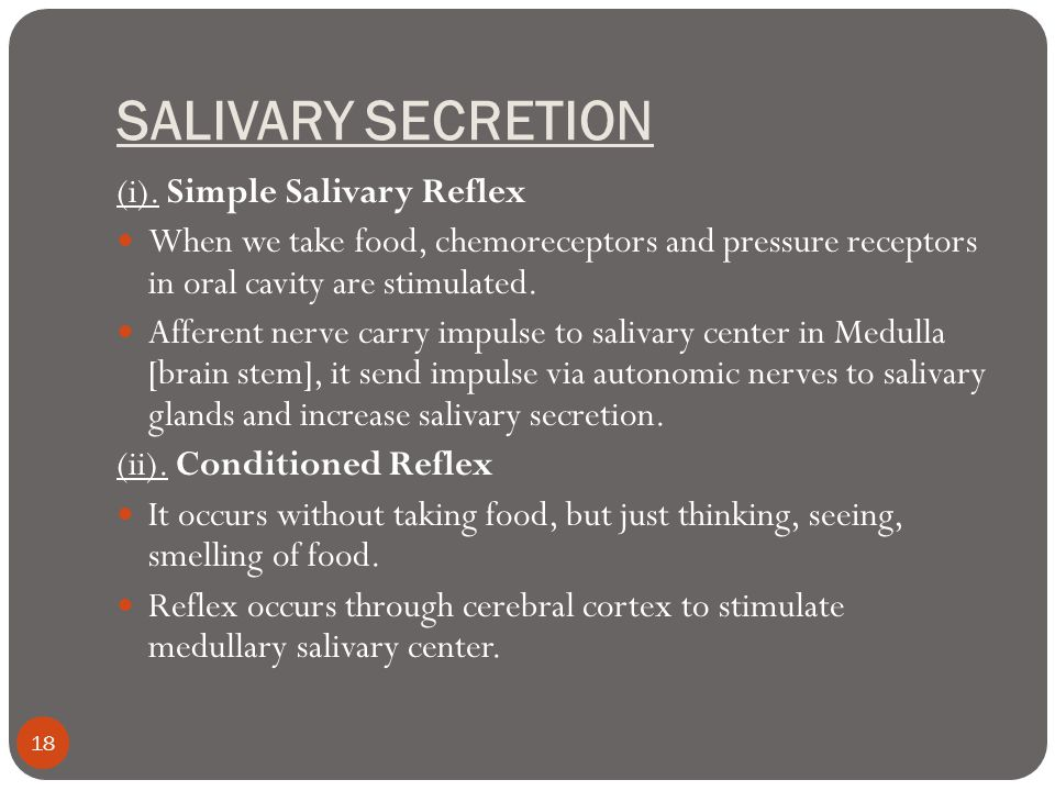 SALIVARY SECRETION (i). Simple Salivary Reflex