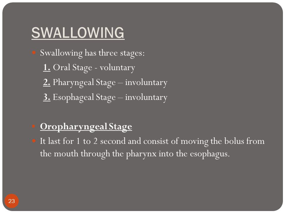 SWALLOWING Swallowing has three stages: 1. Oral Stage - voluntary