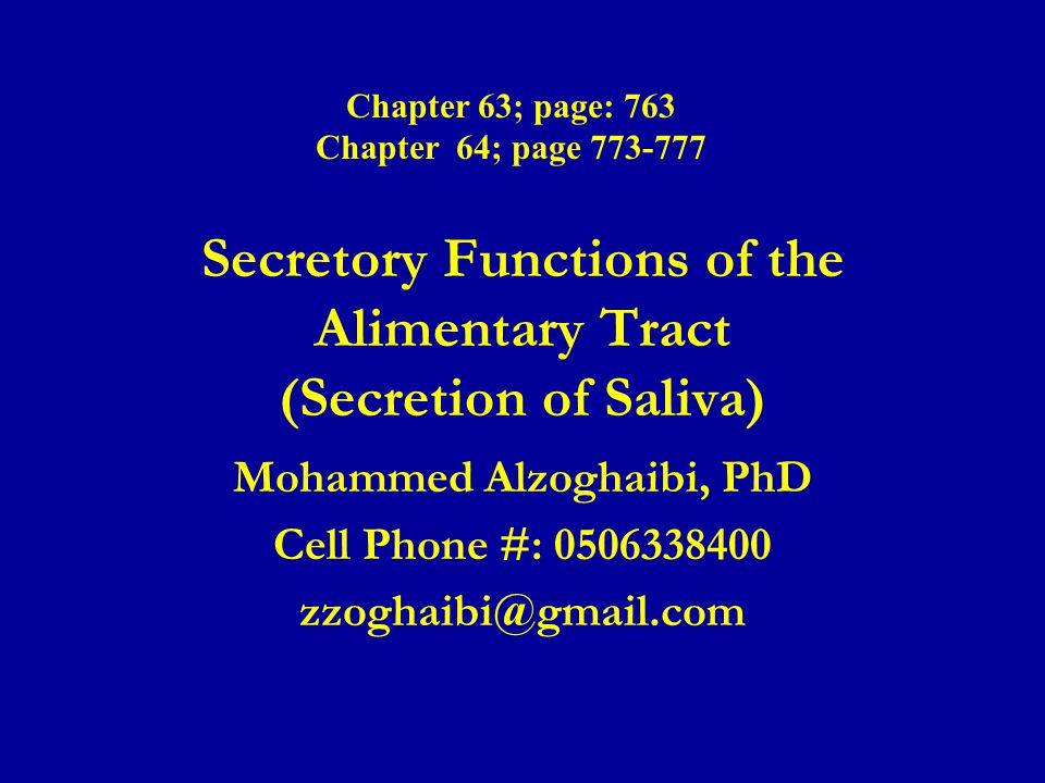 Secretory Functions of the Alimentary Tract (Secretion of Saliva)
