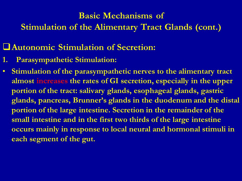 Basic Mechanisms of Stimulation of the Alimentary Tract Glands (cont.)