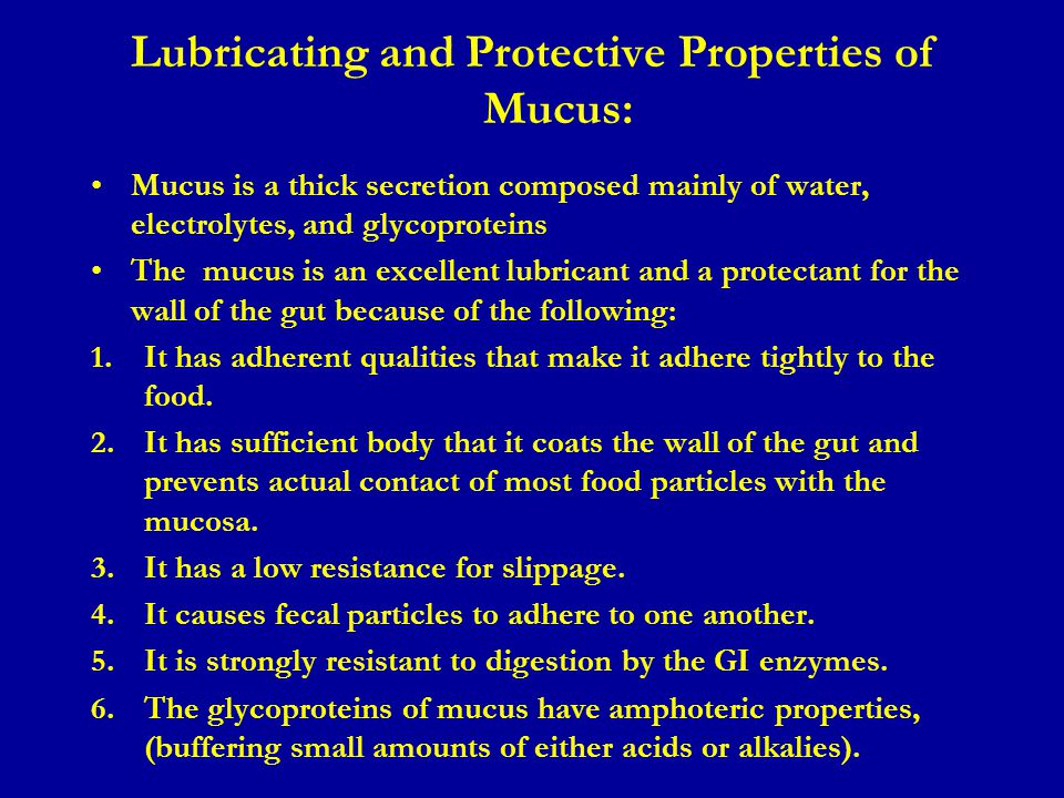 Lubricating and Protective Properties of Mucus: