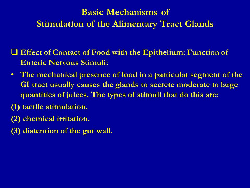 Basic Mechanisms of Stimulation of the Alimentary Tract Glands