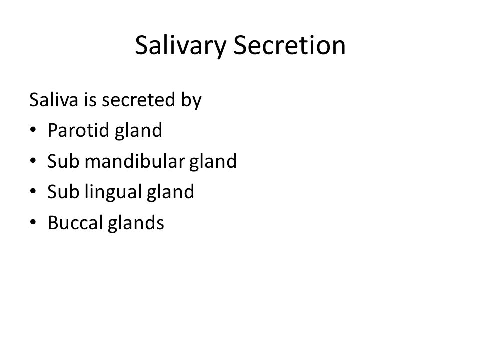 Salivary Secretion Saliva is secreted by Parotid gland