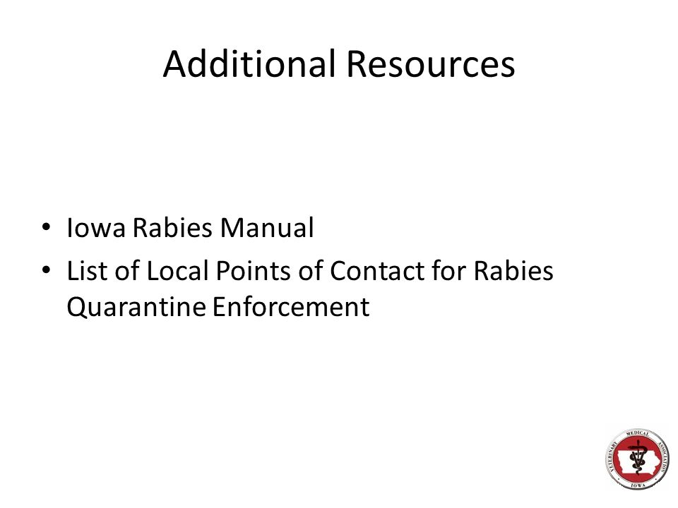 Additional Resources Iowa Rabies Manual
