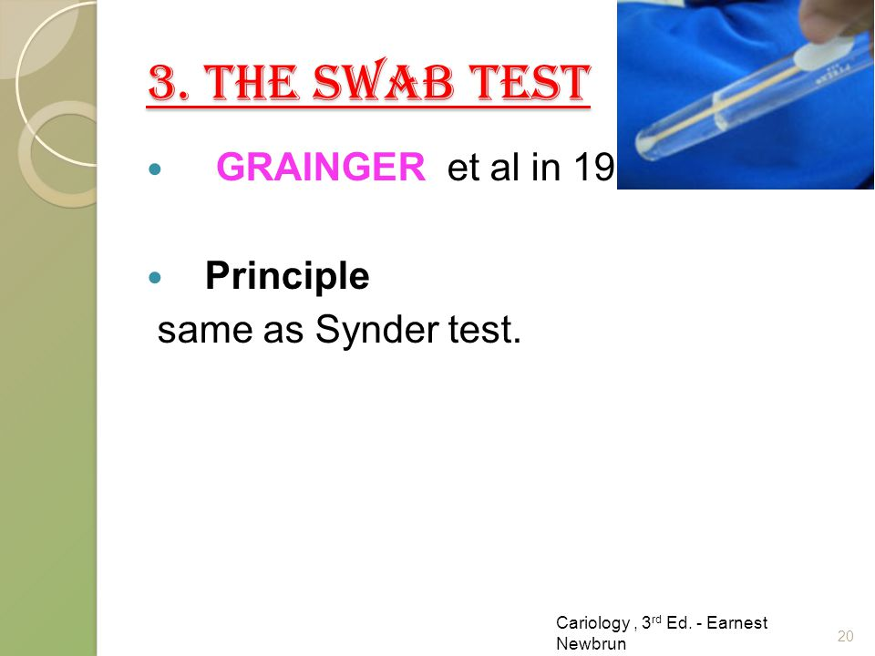 3. THE SWAB TEST GRAINGER et al in 1965. Principle