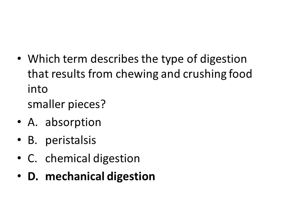 Which term describes the type of digestion that results from chewing and crushing food into smaller pieces