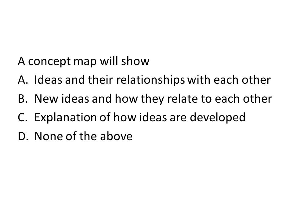 A concept map will show Ideas and their relationships with each other. New ideas and how they relate to each other.