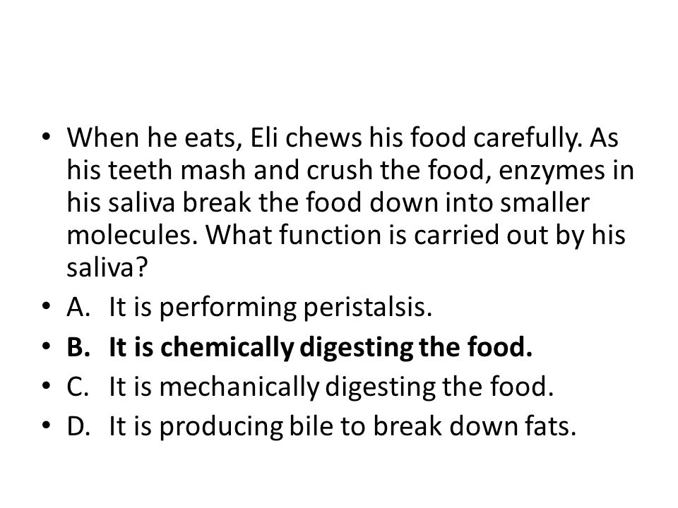 When he eats, Eli chews his food carefully