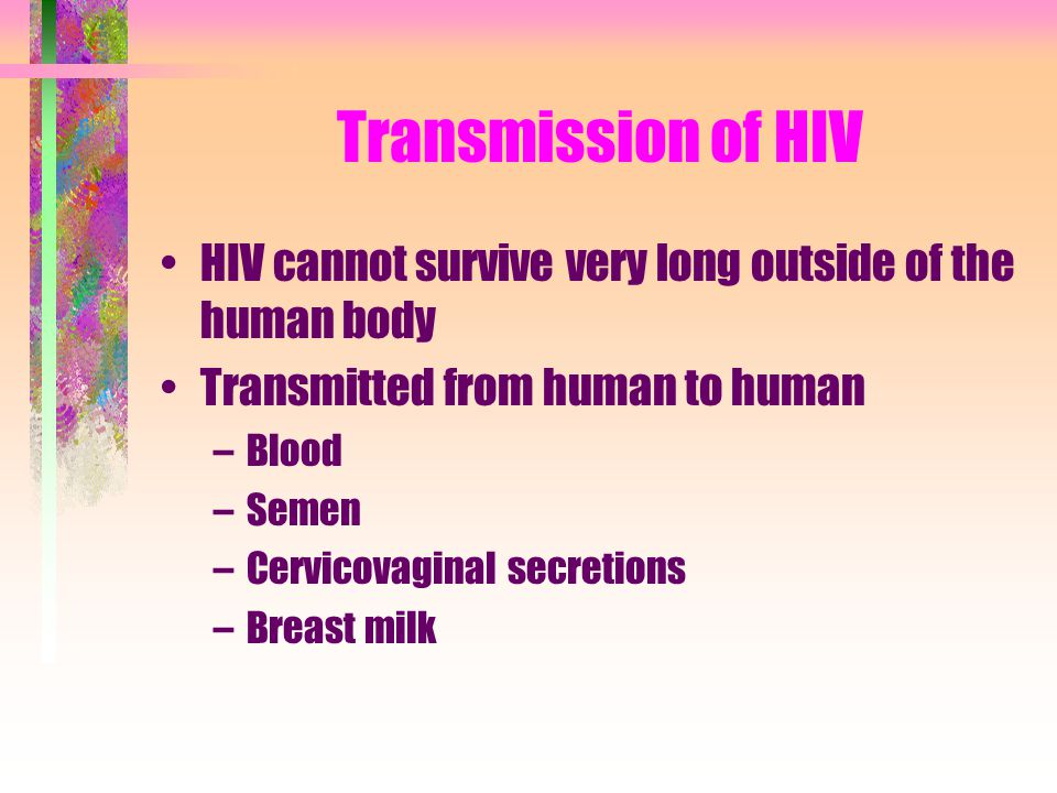 Transmission of HIV HIV cannot survive very long outside of the human body. Transmitted from human to human.