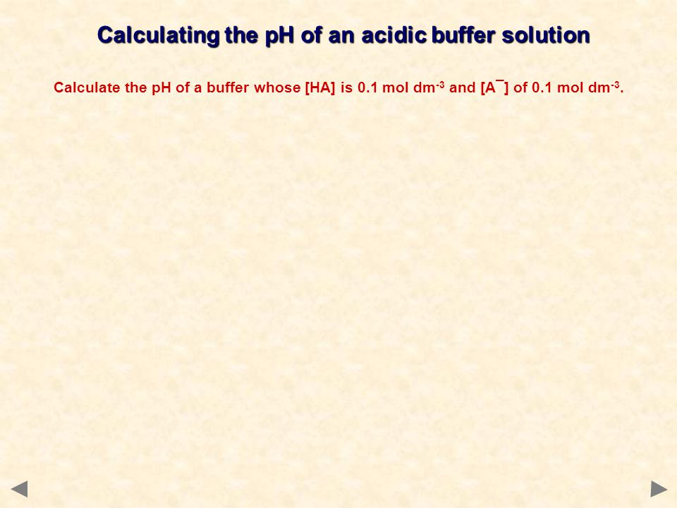 Calculating the pH of an acidic buffer solution