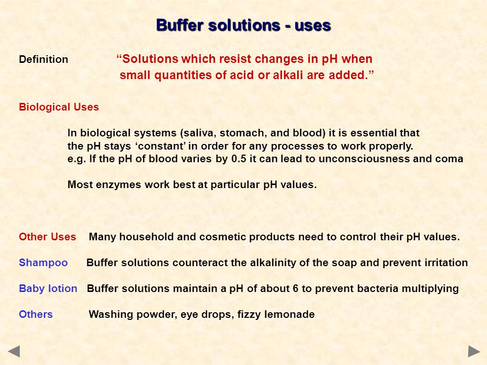 Buffer solutions - uses
