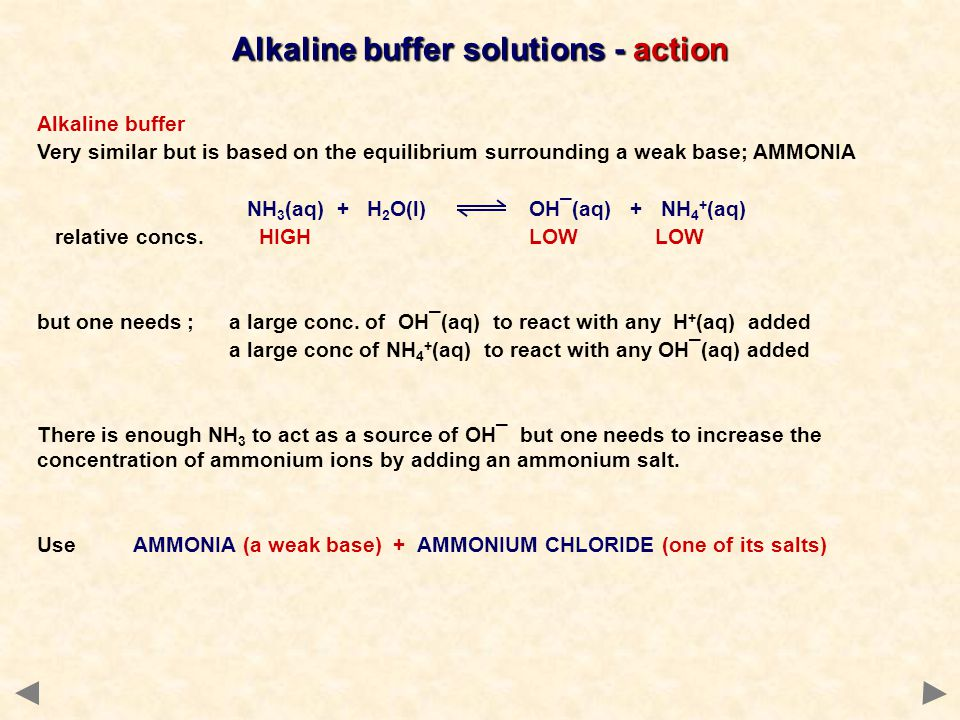 Alkaline buffer solutions - action