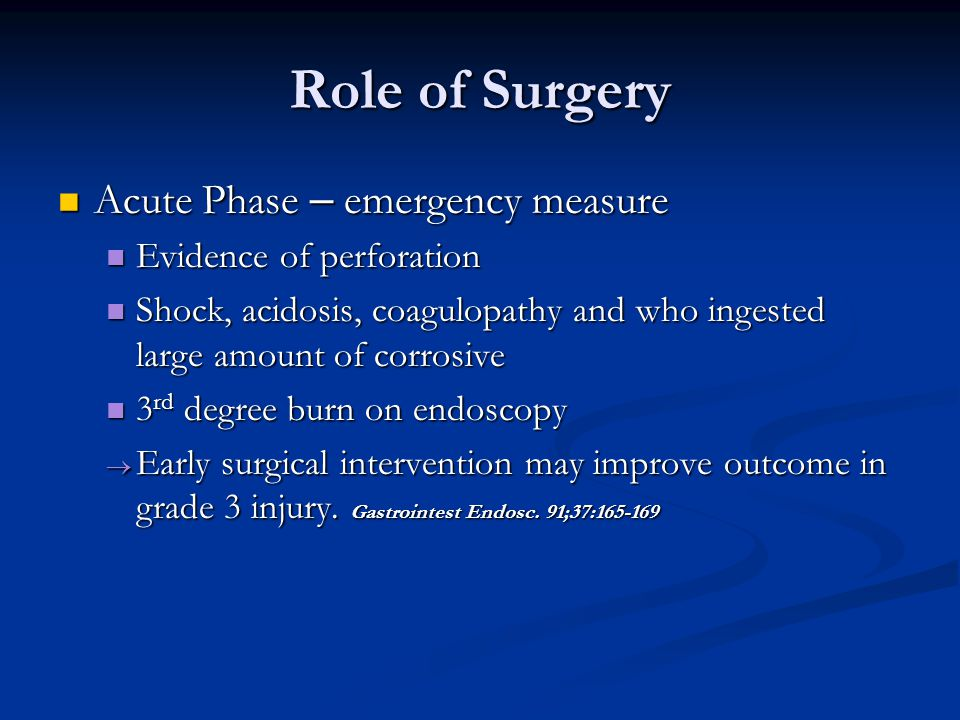 Role of Surgery Acute Phase – emergency measure