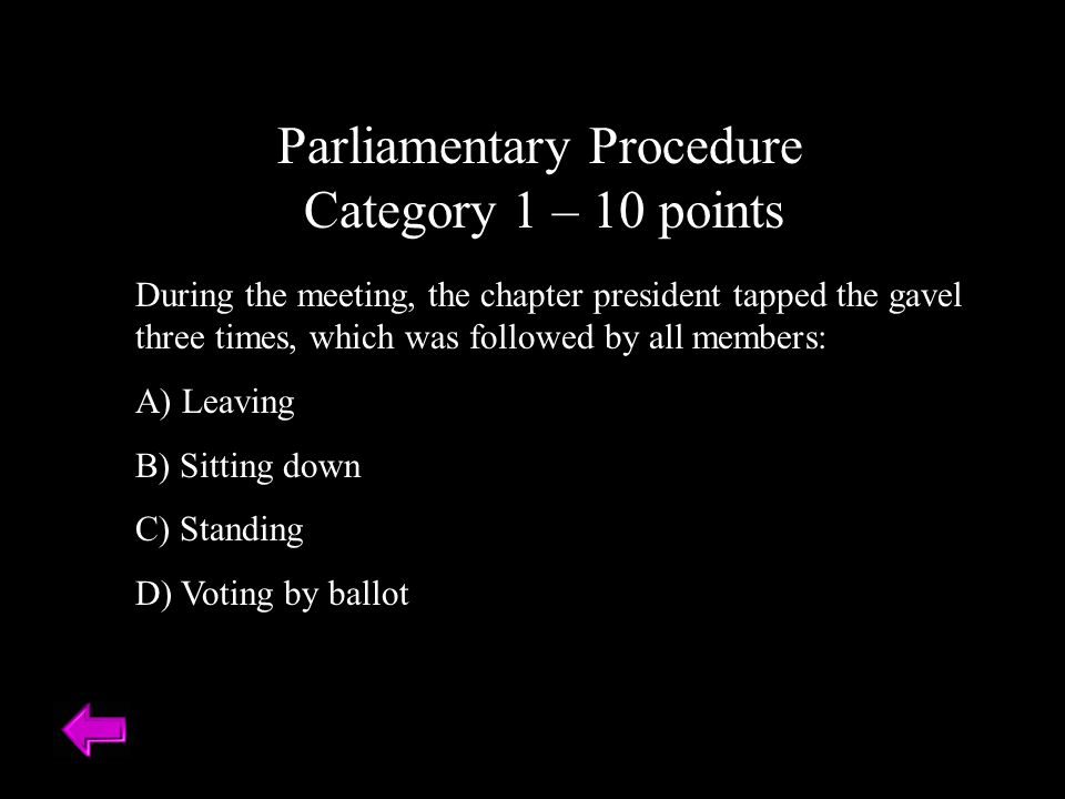 Parliamentary Procedure Category 1 – 10 points