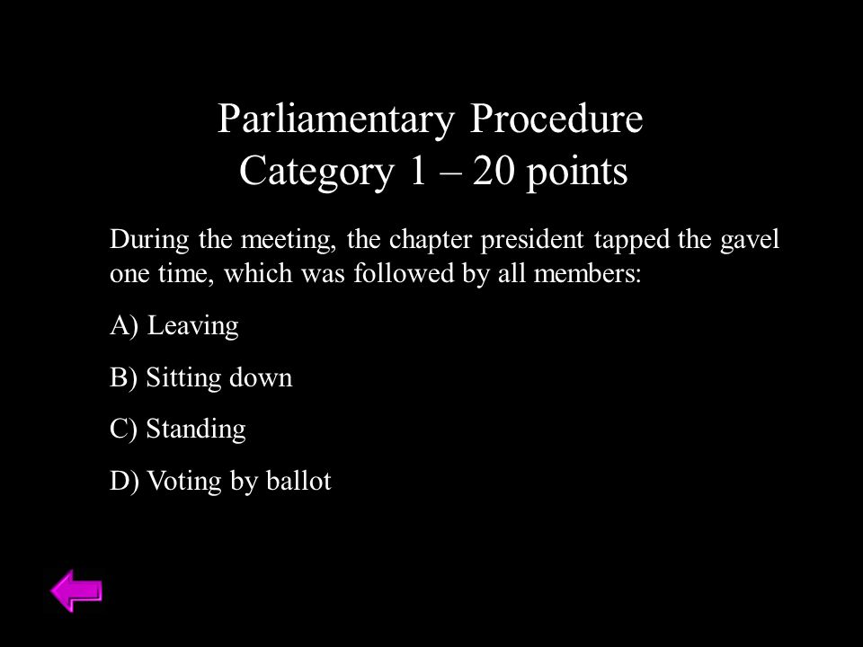Parliamentary Procedure Category 1 – 20 points