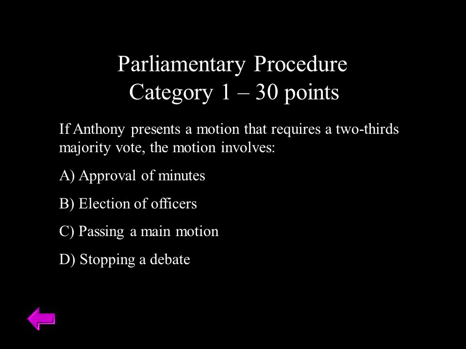 Parliamentary Procedure Category 1 – 30 points