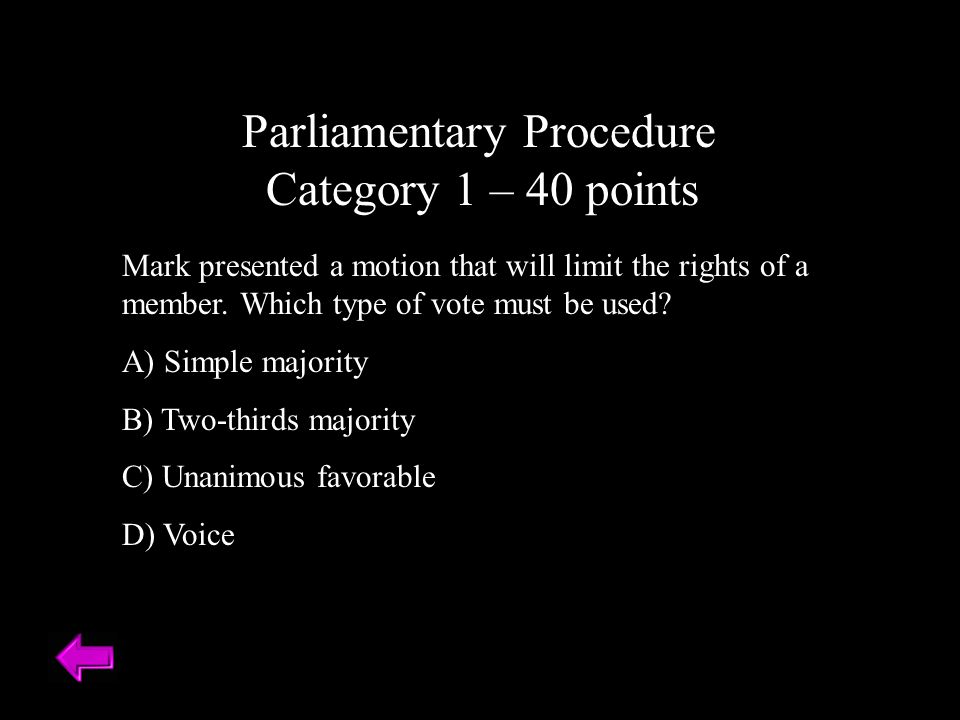 Parliamentary Procedure Category 1 – 40 points