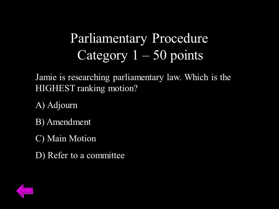 Parliamentary Procedure Category 1 – 50 points
