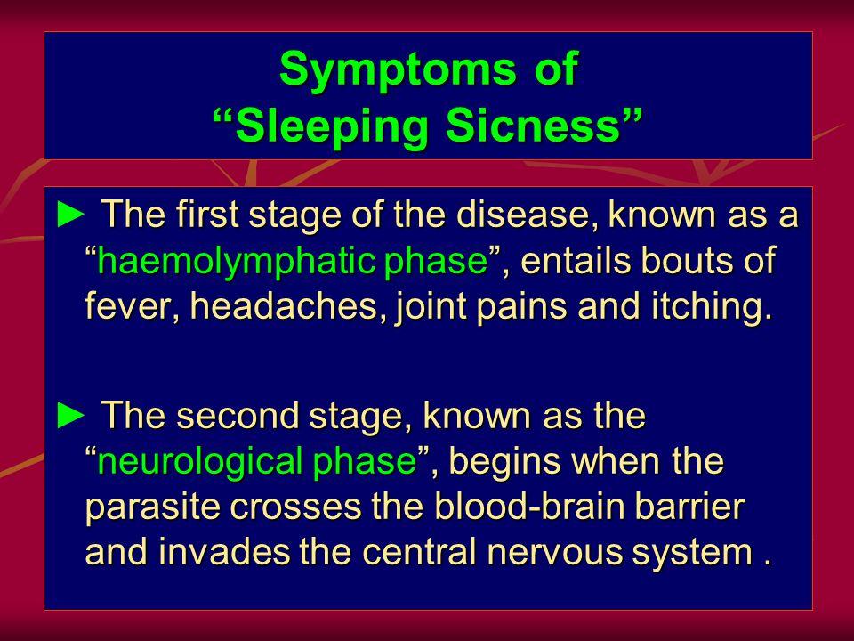 Symptoms of Sleeping Sicness