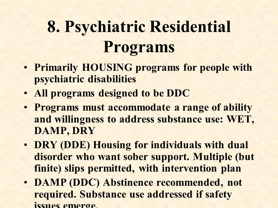 8. Psychiatric Residential Programs