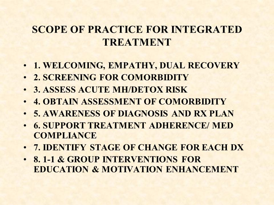 SCOPE OF PRACTICE FOR INTEGRATED TREATMENT