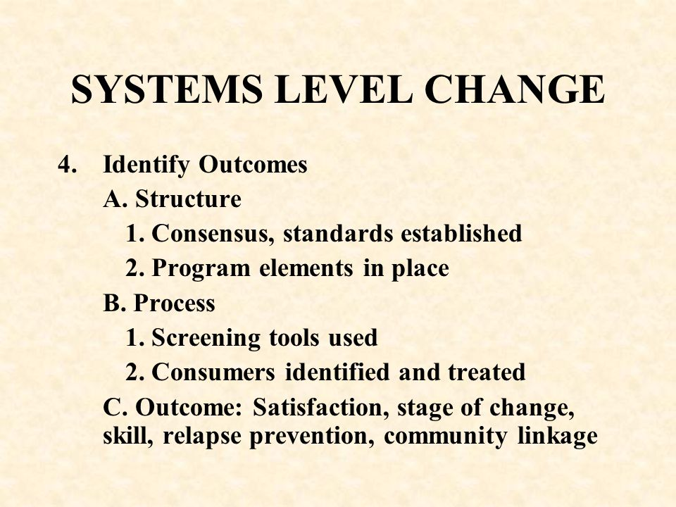 SYSTEMS LEVEL CHANGE Identify Outcomes A. Structure