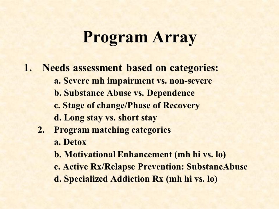 Program Array Needs assessment based on categories: