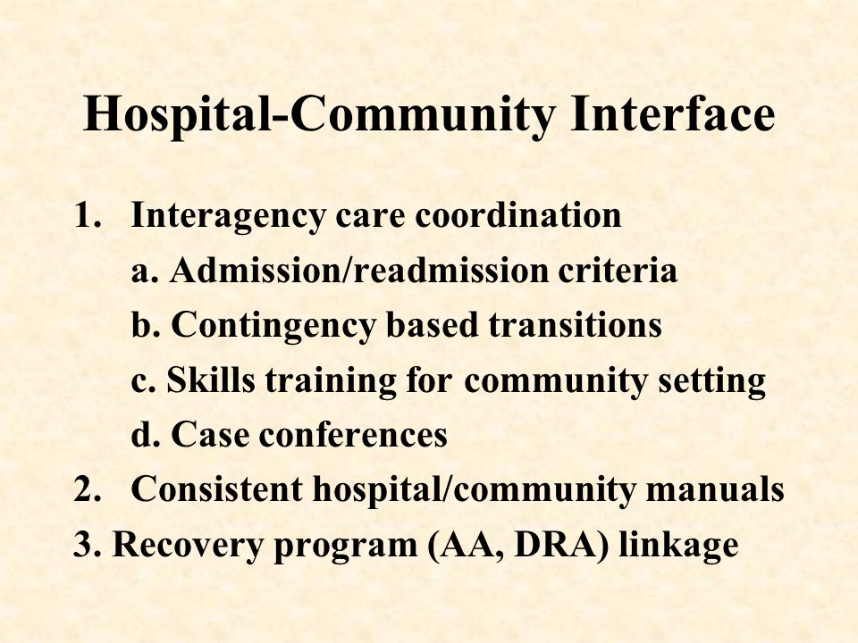 Hospital-Community Interface