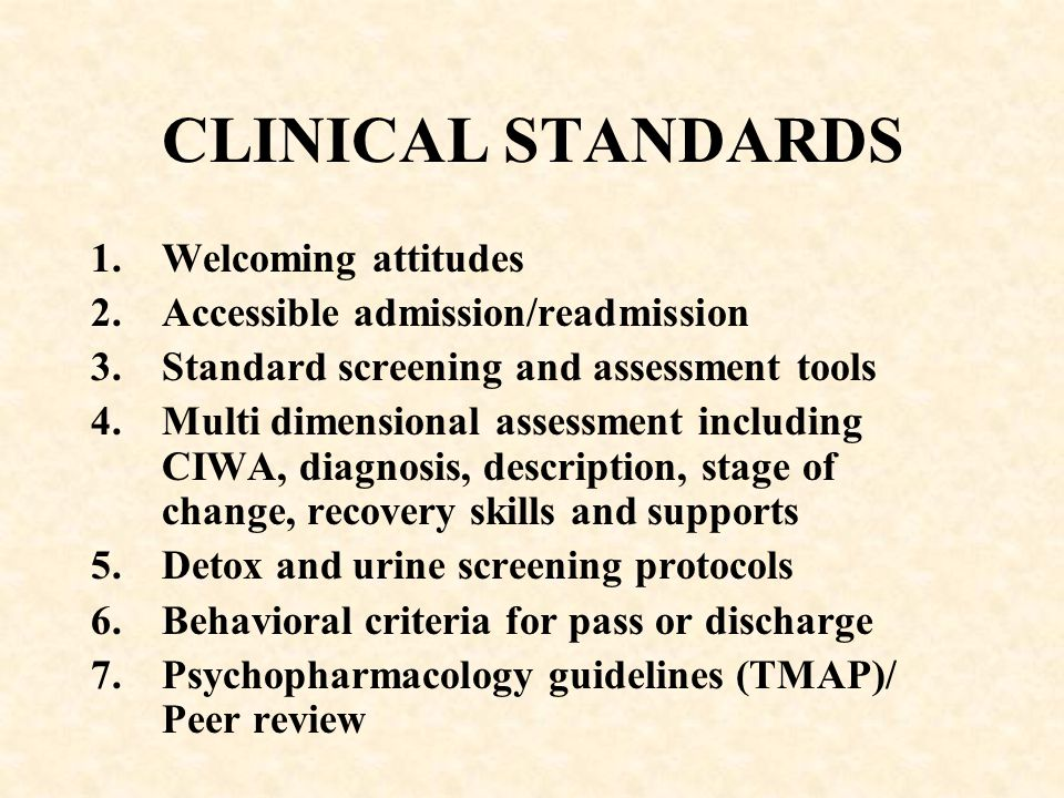 CLINICAL STANDARDS Welcoming attitudes