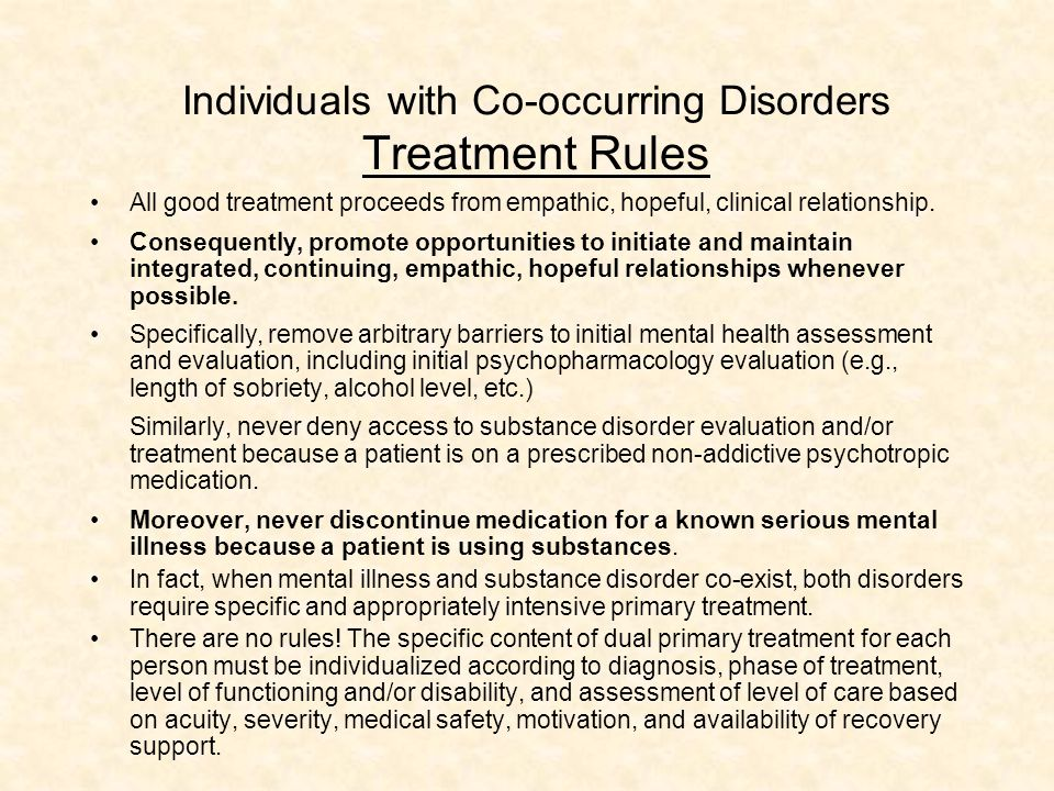 Individuals with Co-occurring Disorders Treatment Rules