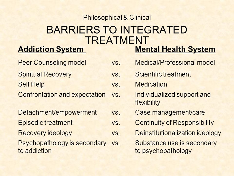 Philosophical & Clinical BARRIERS TO INTEGRATED TREATMENT