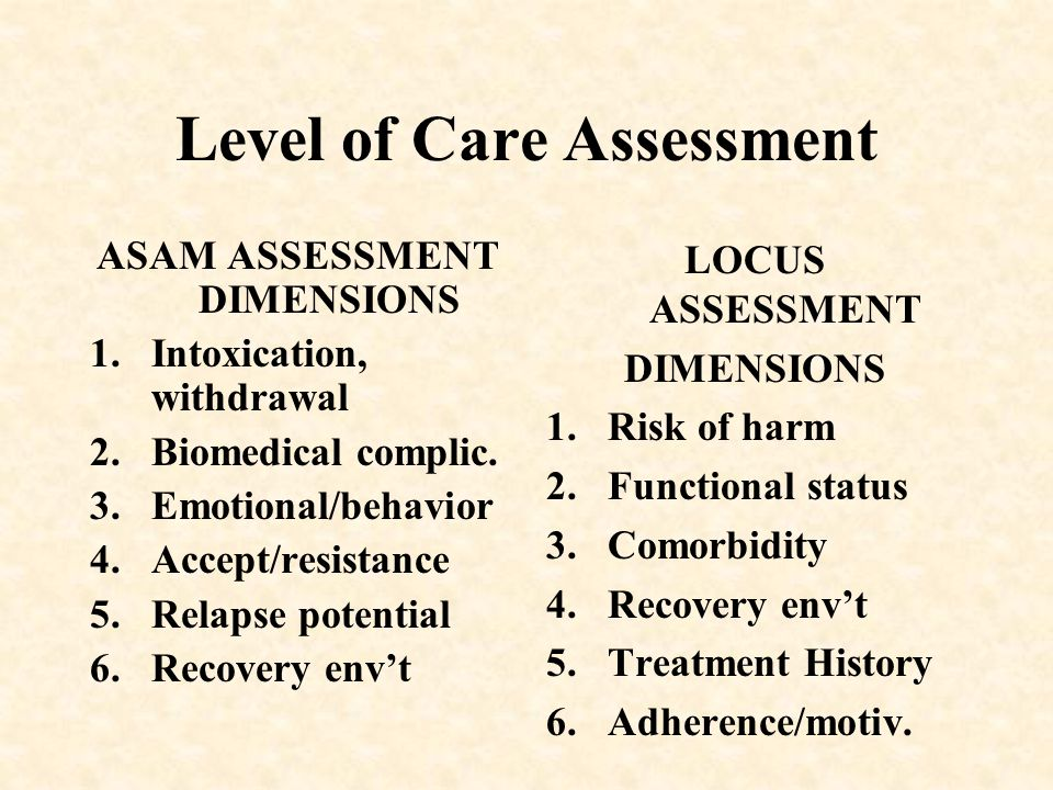 Level of Care Assessment