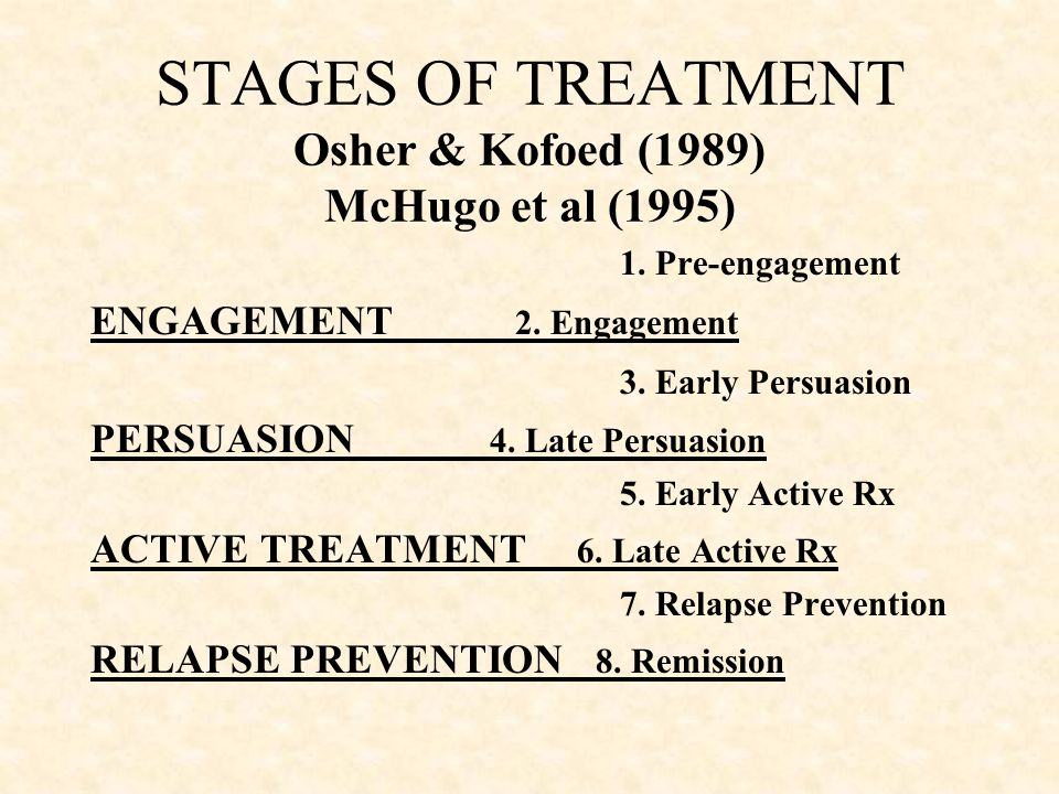 STAGES OF TREATMENT Osher & Kofoed (1989) McHugo et al (1995)