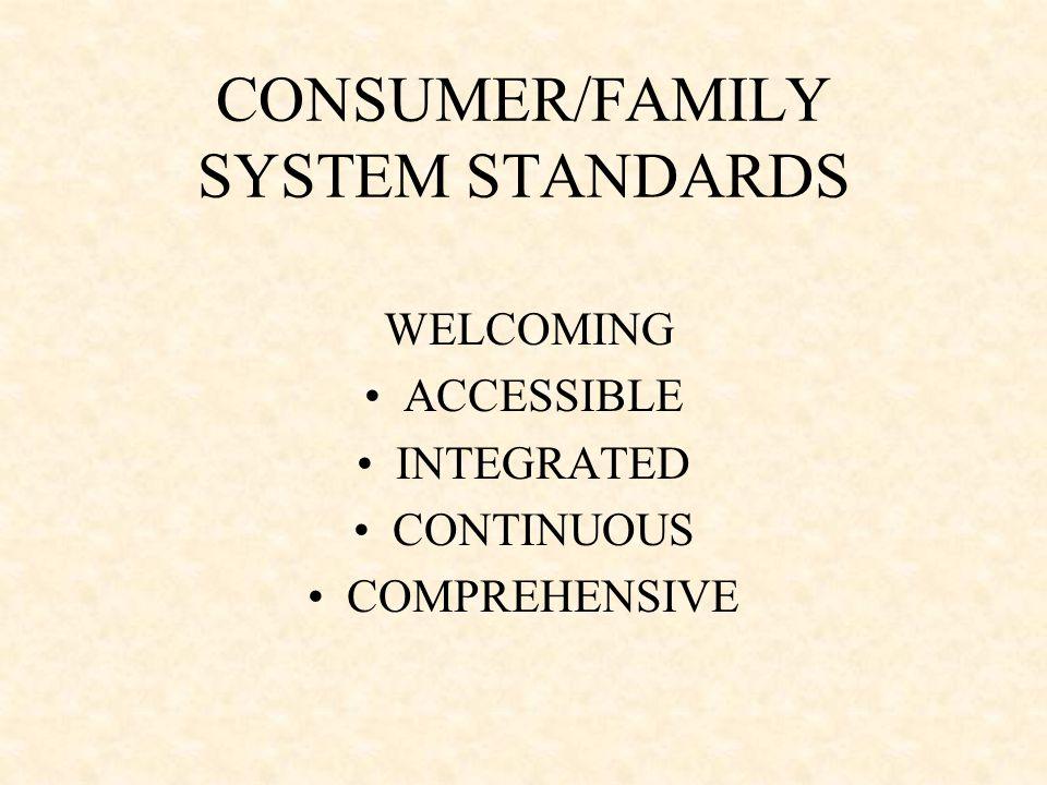 CONSUMER/FAMILY SYSTEM STANDARDS