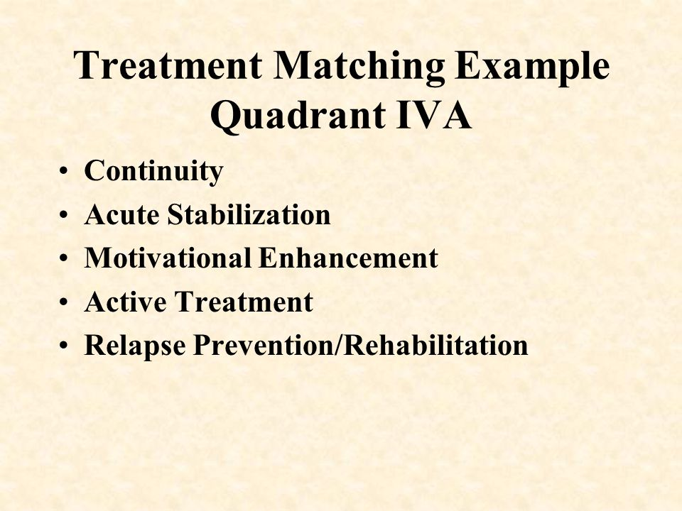 Treatment Matching Example Quadrant IVA