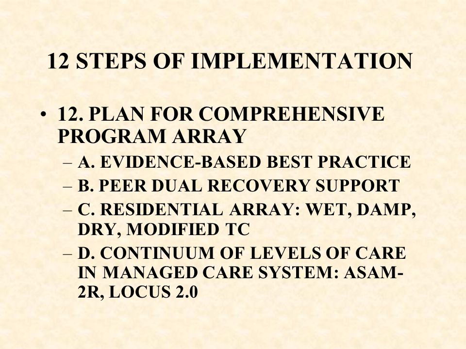 12 STEPS OF IMPLEMENTATION
