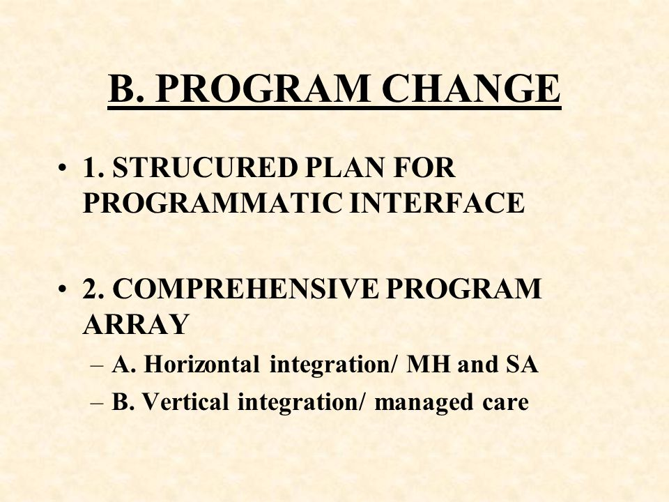 B. PROGRAM CHANGE 1. STRUCURED PLAN FOR PROGRAMMATIC INTERFACE