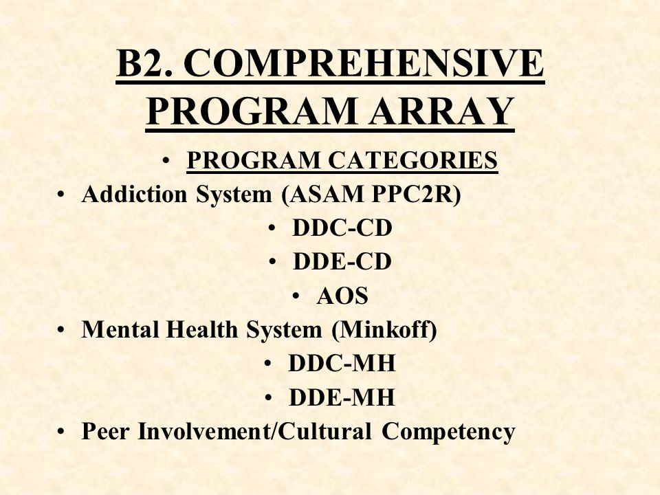 B2. COMPREHENSIVE PROGRAM ARRAY