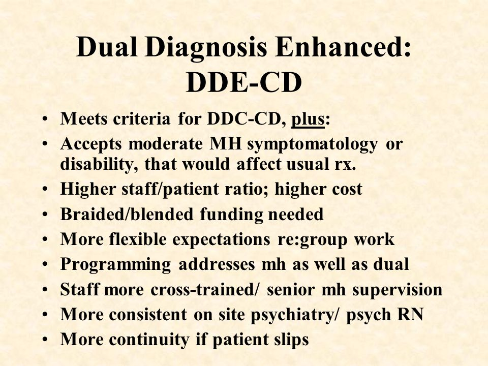 Dual Diagnosis Enhanced: DDE-CD