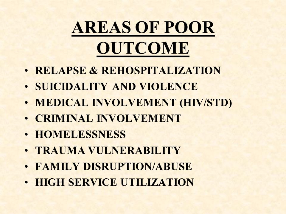 AREAS OF POOR OUTCOME RELAPSE & REHOSPITALIZATION