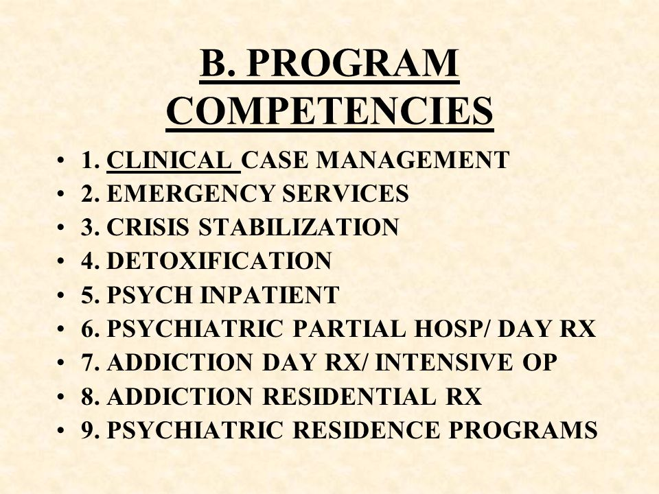 B. PROGRAM COMPETENCIES