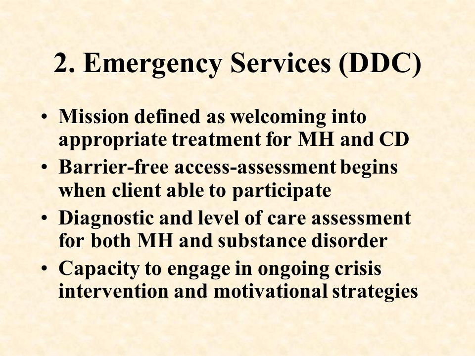 2. Emergency Services (DDC)