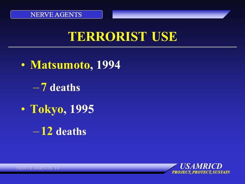 TERRORIST USE Matsumoto, 1994 7 deaths Tokyo, 1995 12 deaths