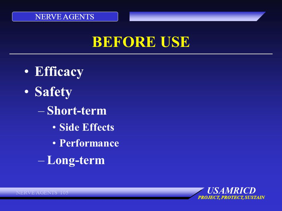 BEFORE USE Efficacy Safety Short-term Long-term Side Effects