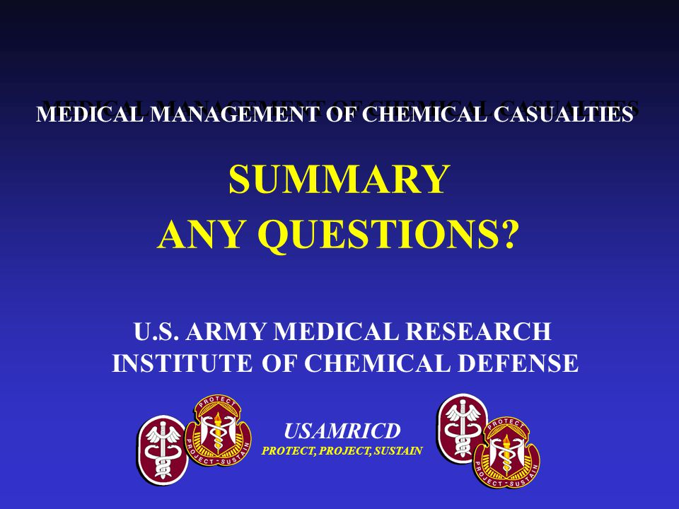 U.S. ARMY MEDICAL RESEARCH INSTITUTE OF CHEMICAL DEFENSE