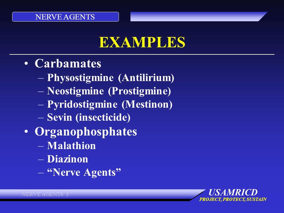 EXAMPLES Carbamates Organophosphates Physostigmine (Antilirium)