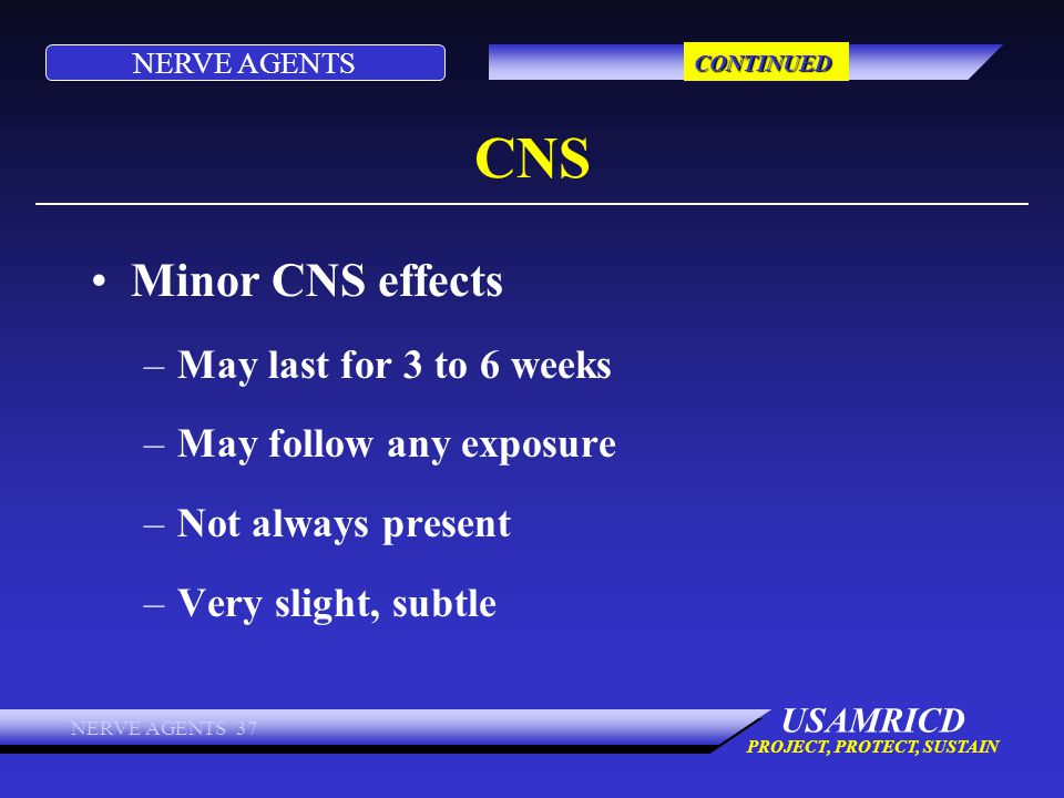 CNS Minor CNS effects May last for 3 to 6 weeks