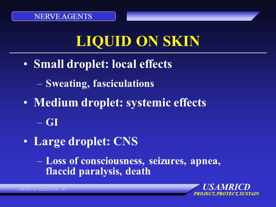 LIQUID ON SKIN Small droplet: local effects